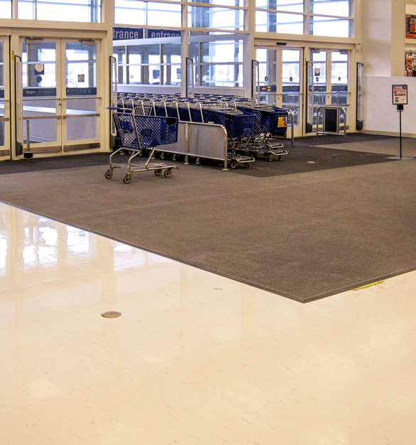 RQT can be used in heavy commercial and industrial applications. It has a >3,000 PSI. Its excellent dimensional stability resists shrinkage, reducing seam gaps where bacteria might hide, which is an excellent feature for schools, healthcare facilities and grocery stores. It resists breaking and tearing better than other composition or multi-layer floors. RQT does not promote the growth of infectious organisms. RQT's absorption rate is 0.3%. VCT absorption can be as high as 13%. RQT's low absorption helps with stain resistance, cleaning and infectious control.