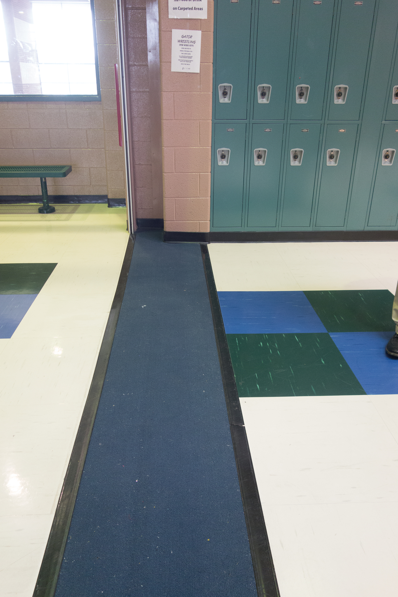 Mix and match tile faces to showcase your branding colors. Our tiles are perfect for high-traffic areas because its excellent dimensional stability resists shrinkage, reducing seam gaps where bacteria might hide, which is an excellent feature for schools.