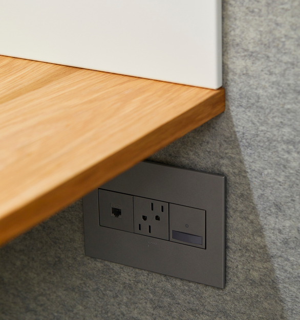 Our booth comes with a tech-friendly work desk, motion-activated LED light and two 120V outlets. Ethernet port, available as an add on, ensures you never miss a connection.