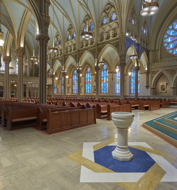 Beautiful classical Sanctuary design featuring marbelized rubber tile & tread by Roppe.