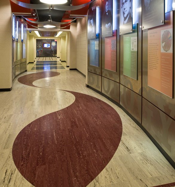 This high school hallway features marbelized rubber tile by Roppe for added durability without compromising on look.