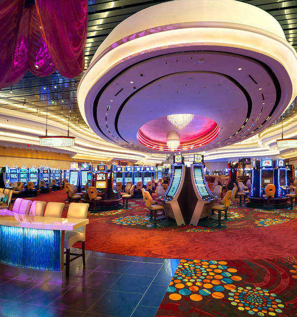 The Scarlet Pearl Casino Resort game floor features a unique ceiling with stunning lighting design.