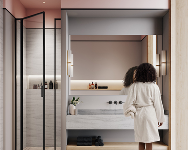 The shower and sink casework are Durasein's Royal Carrera, part of the Lively Collection.