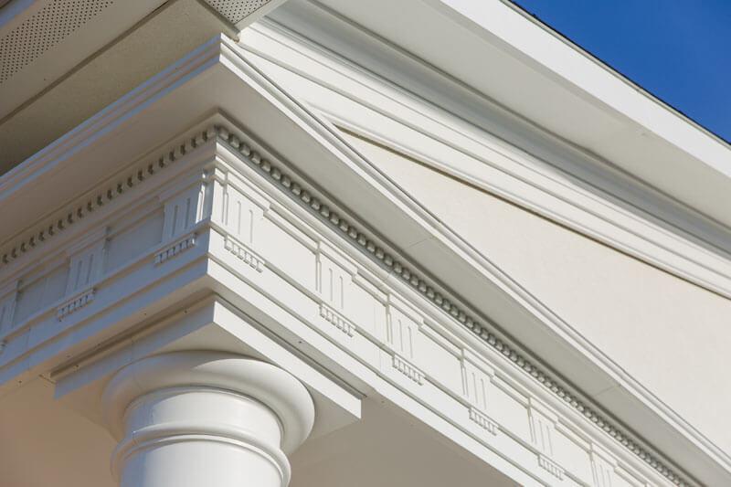 Close up of fiberglass cornice, by Royal Corinthian.