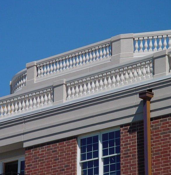 Root top balustrades, by Royal Corinthian.