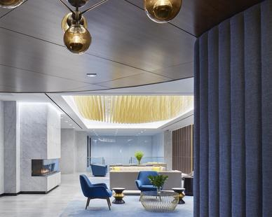The bright and elegant finishes in The Carlson Executive Floor creates a welcome atmosphere for guests that enter the space.