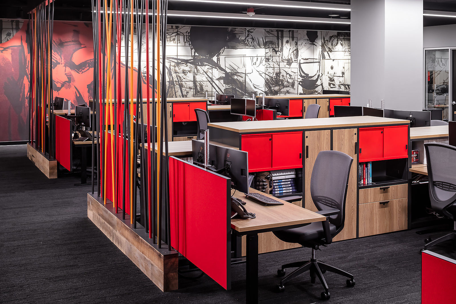 The open work environment offers plenty of collaboration spaces with soft seating options and branded conference rooms.