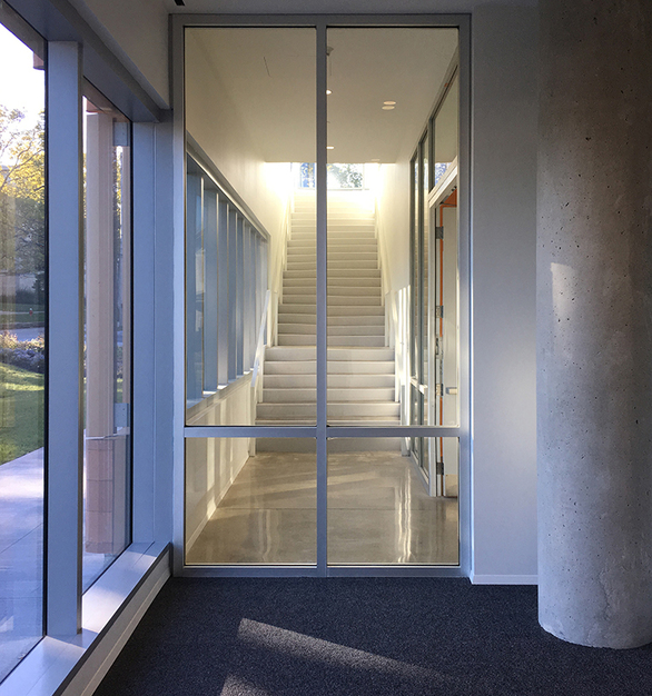 The interior glass system at the College of Architecture and Environmental Design building at Kent State University features SAFTI FIRST SuperLite II-XL 120 in GPX Architectural Series Framing.