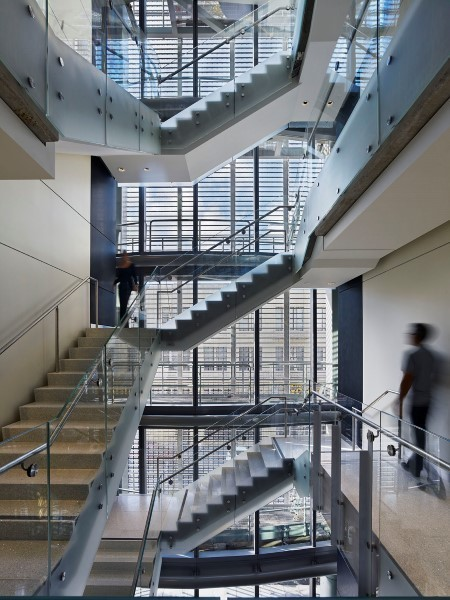 SAFTI FIRST used their GPX Architectural Series Framing to give light to the interior stairway of the San Francisco Public Utilities Commission Office Building.