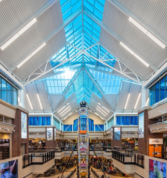 SageGlass® makes up almost every piece of exterior glass at the Johnstown, Colorado SCHEELS, which includes a grand atrium, a large skylight, curtain walls and clerestories.