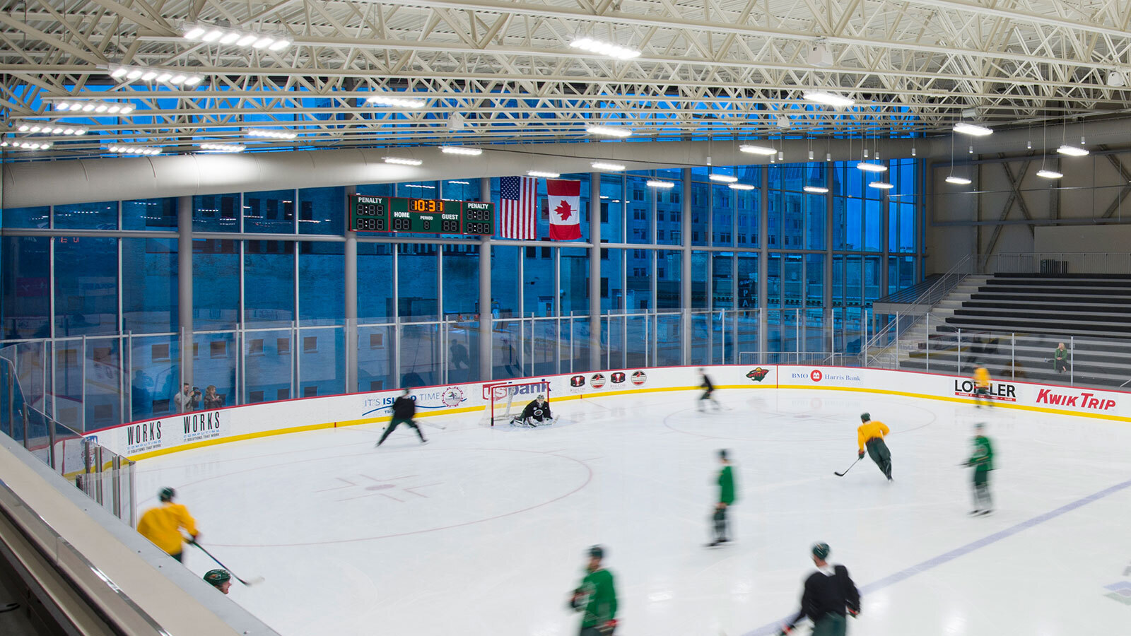 SageGlass provides different tint levels to accommodate the varying needs for solar control throughout the day, depending on sky conditions and the position of the sun. During the day, TRIA Rink managers can tint SageGlass to keep Minnesota Wild players comfortable during practice and free from glare. At night they have the option of setting the glass to clear, offering an exhilarating recreational experience for local youth hockey teams who use the facility.
