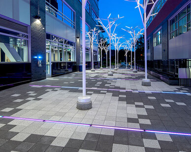 Nestled between Bakery Office Two and Bakery Office Three in a unique and fun design, Wausau Tile's standard and custom colored Textured Granite architectural pavers provide a smooth path for all visitors. With the help of white, illuminating trees and several LED color changing light strips, the magical path that was created not only delivers a safe walking space for neighbors and visitors, but also provides as a sweet dedication to a beloved mother - Sally Perelman Lehman.