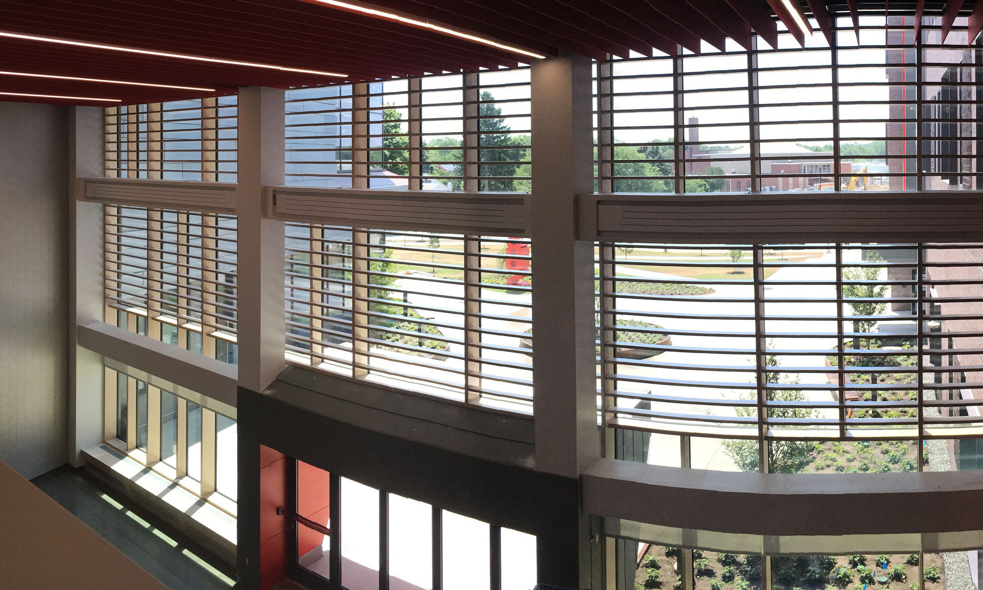 Throughout the interior of Saugus Middle/High School you will notice the use of Lamboo® Vue™ Series - Curtain Wall System & Sun Shade Louvers.