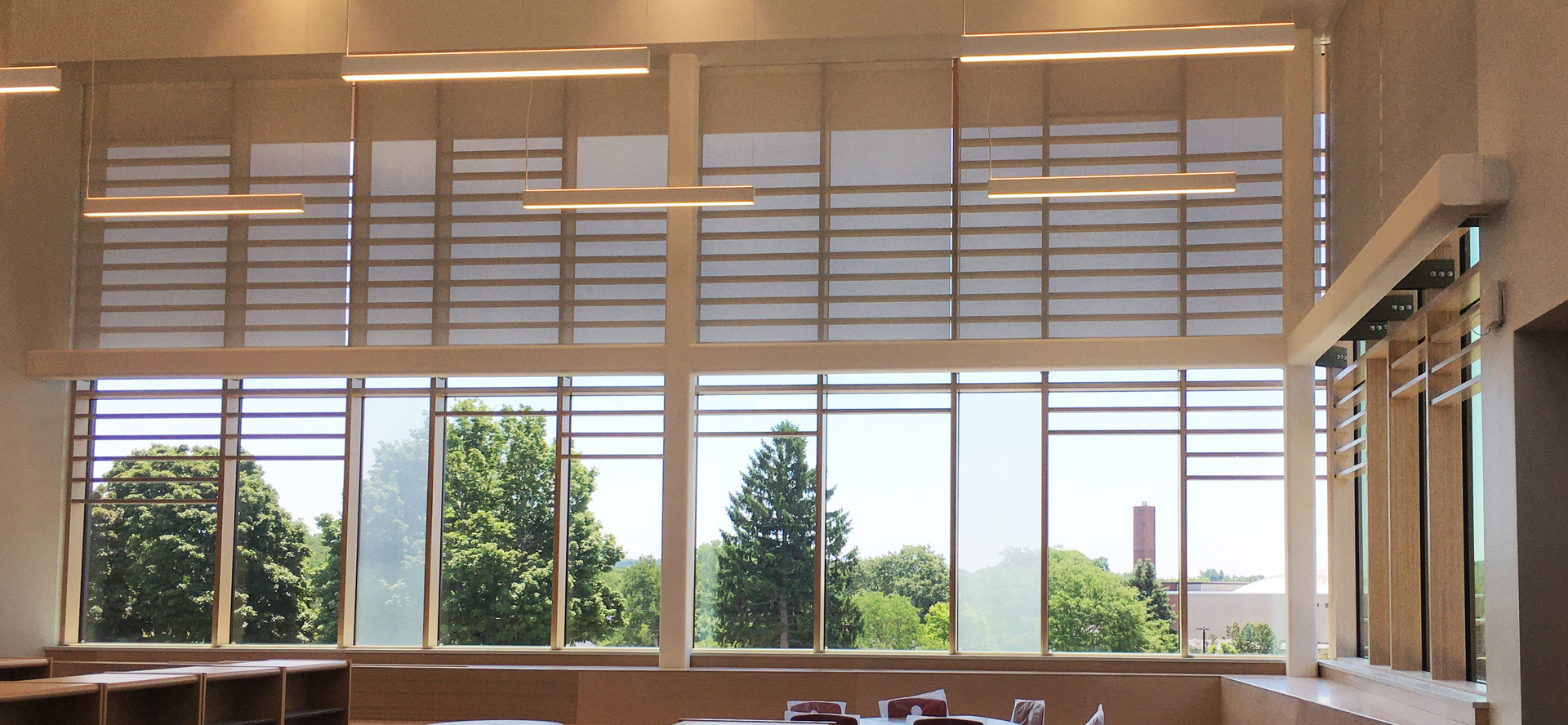 Saugus Middle/High School, located in Saugus, Massachusetts, integrated with  Lamboo® Vue™ Series - Curtain Wall System & Sun Shade Louvers throughout their final design.