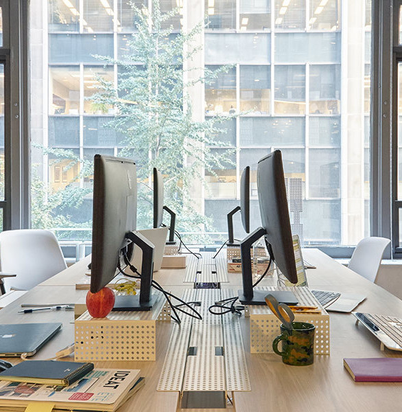 A desking system designed to accommodate growth, Heartwork's Sawhorse Desk offers an elegant, efficient solution for organizing and celebrating your work-not hiding it.