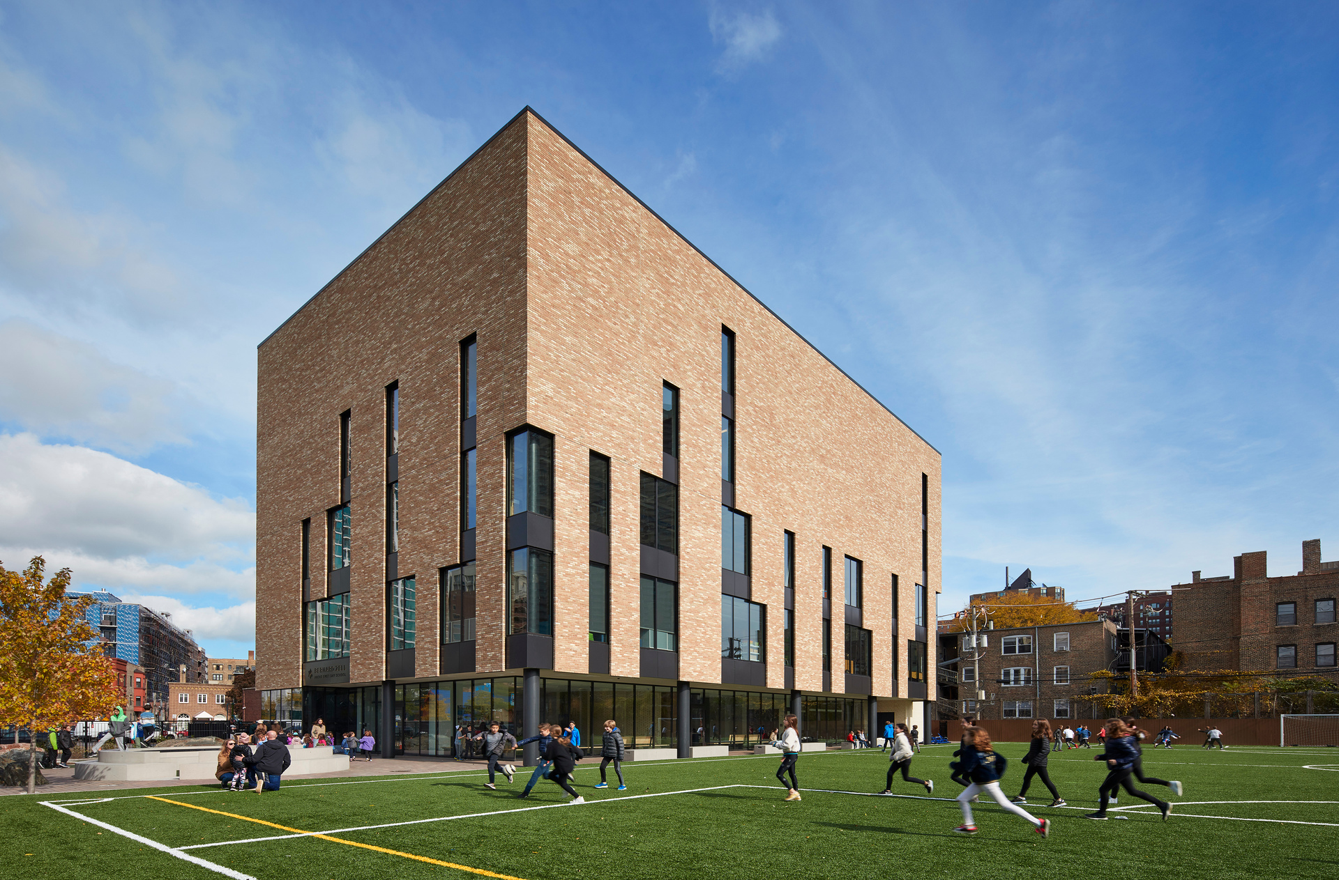 The Modular Belcrest 650 bricks by Belden Brick provide a sturdy exterior for the school building, while the large windows provide plenty of natural light.  Photo by Steve Hall, Hall + Merrick Photographers