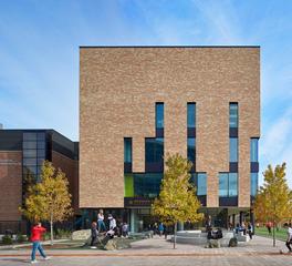 School Entrance Exterior Brick Facade with Modular bricks in Chicago, IL