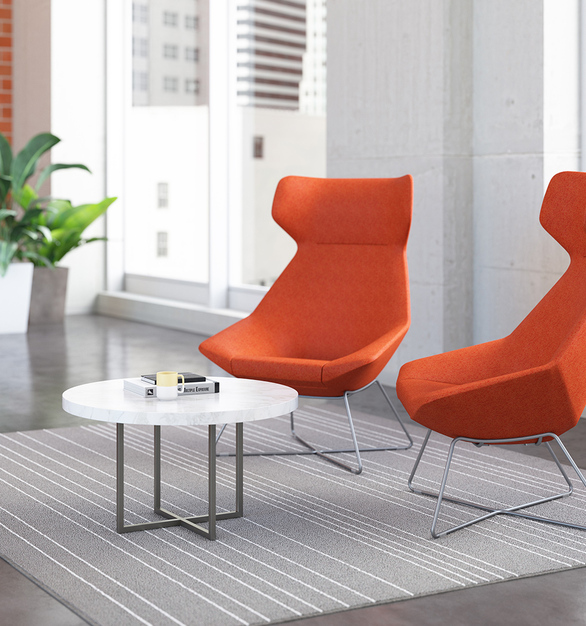The centerpiece of the Jax Collection, the high-back lounge is perfect for focus. Its wraparound wings provide a sense of privacy for solo work.