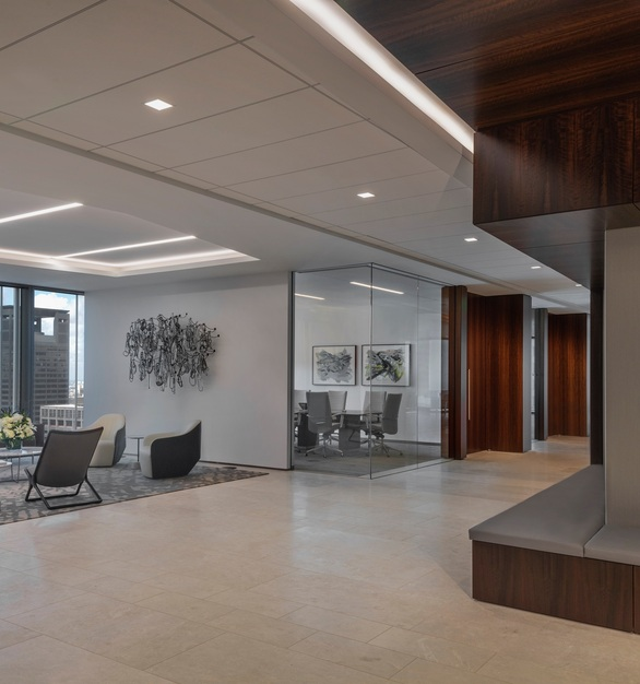 Orrick, Herrington & Sutcliffe International Law Firm office located in Houston, Texas features the BSL-58 as the base on the back wall.