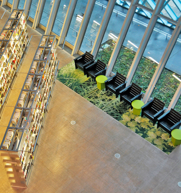 The Seattle Public Library has hundreds of pieces of Loll Designs GO Collection that are used every day in one of the most unique architectural spaces on Earth.