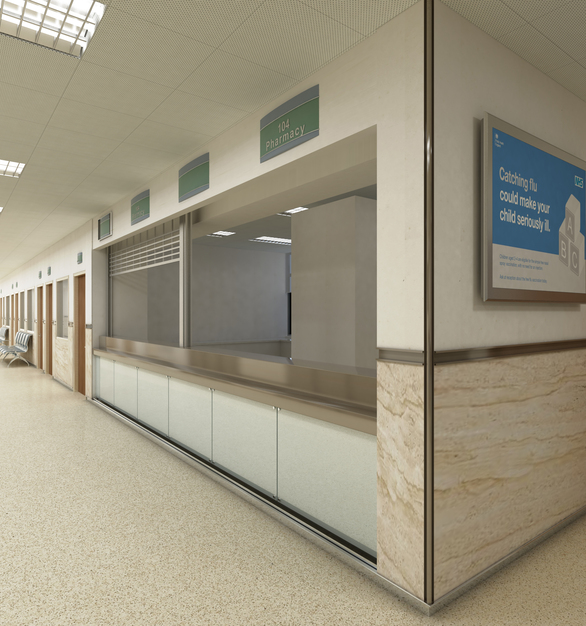 Hospital featuring RVRS-200 to separate the marble panel and drywall, BPS-150 as the base, and CRD as the corner guard. All profiles are in a chrome finish.