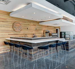 Severine Photography Opus Coffee Cafe Interior Gainesville Florida Counter Seating and Wood Wall Panels