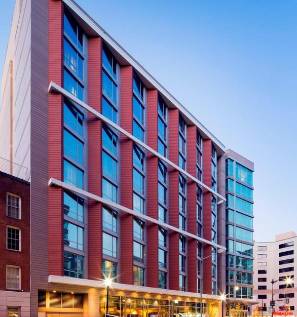Exterior of the Hilton Garden Inn done in Terracotta Rainscreen Facade.