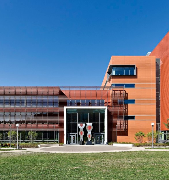 University of Illinois Electrical and Computer Engineering building features Shildan Group Terracotta Rainscreen for functionality and to catch the eye of guests.