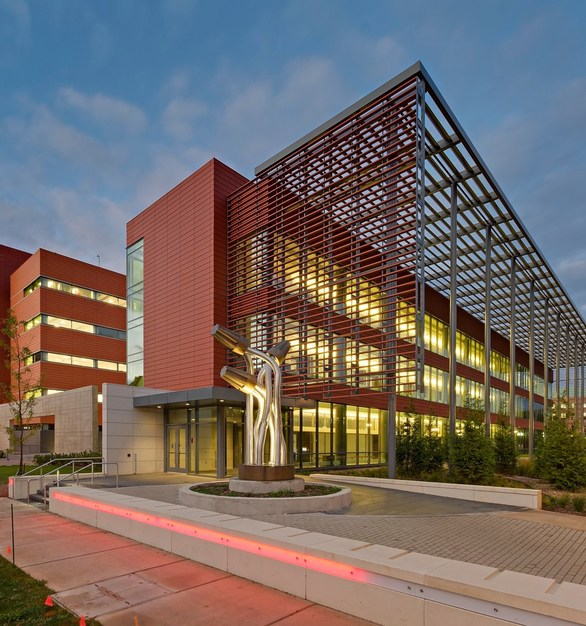 Exterior of University of Illinois Electrical and Computer Engineering features a Terracotta Rainscreen by Shildan Group.