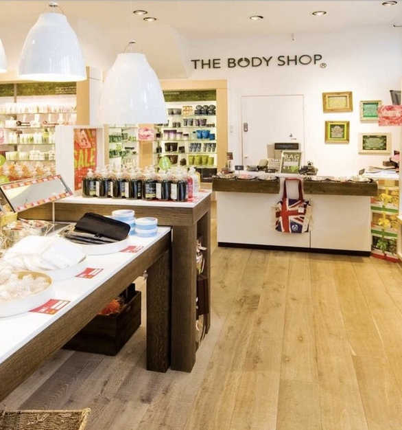 Hardwood Flooring by Simply Oak™ is featured here in The Body Shop retail store.