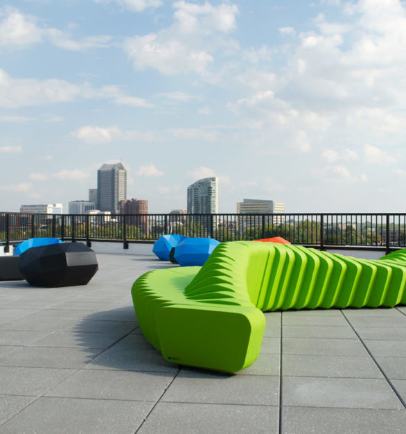 This balcony located at Gravity Apartments in Columbus, Ohio is blessed with SIXINCH bench seating. Photo by King Business Interiors.