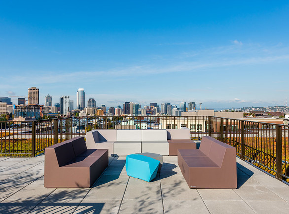Build an iconic environment with SIXINCH furniture indoors or out. Installation featured is the Broadcast Apartments in Seattle.