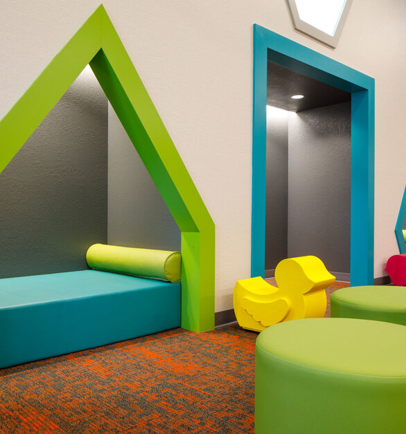 Brighten any space with SIXINCH iconic furniture. This installation is Bonita Springs Public Library by BSSW Architects.