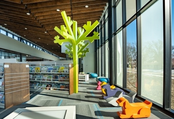 SIXINCH animal poufs can be used as accent furniture or a stool. Installation at the Crete Public Library In Nebraska, image by Sampson Construction.