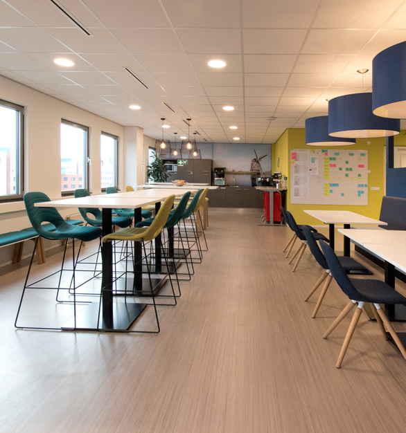 Vibrant and colorful furniture can create a lasting impression while proving a comfortable space to work in. We provided seating and table fixtures for the Nowy Styl Group offices.
