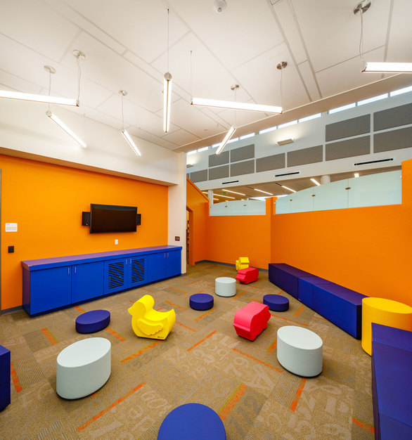 High traffic spaces need furniture with durability and that's where SIXINCH comes in. This installation is located at the North Fort Myers Public Library in Florida. Designed by BSSW Architects.