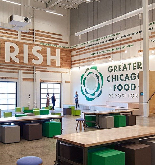 Sixinch poufs provide lightweight, movable seating at the Greater Chicago Food Depository. Design and photo by Partners By Design.