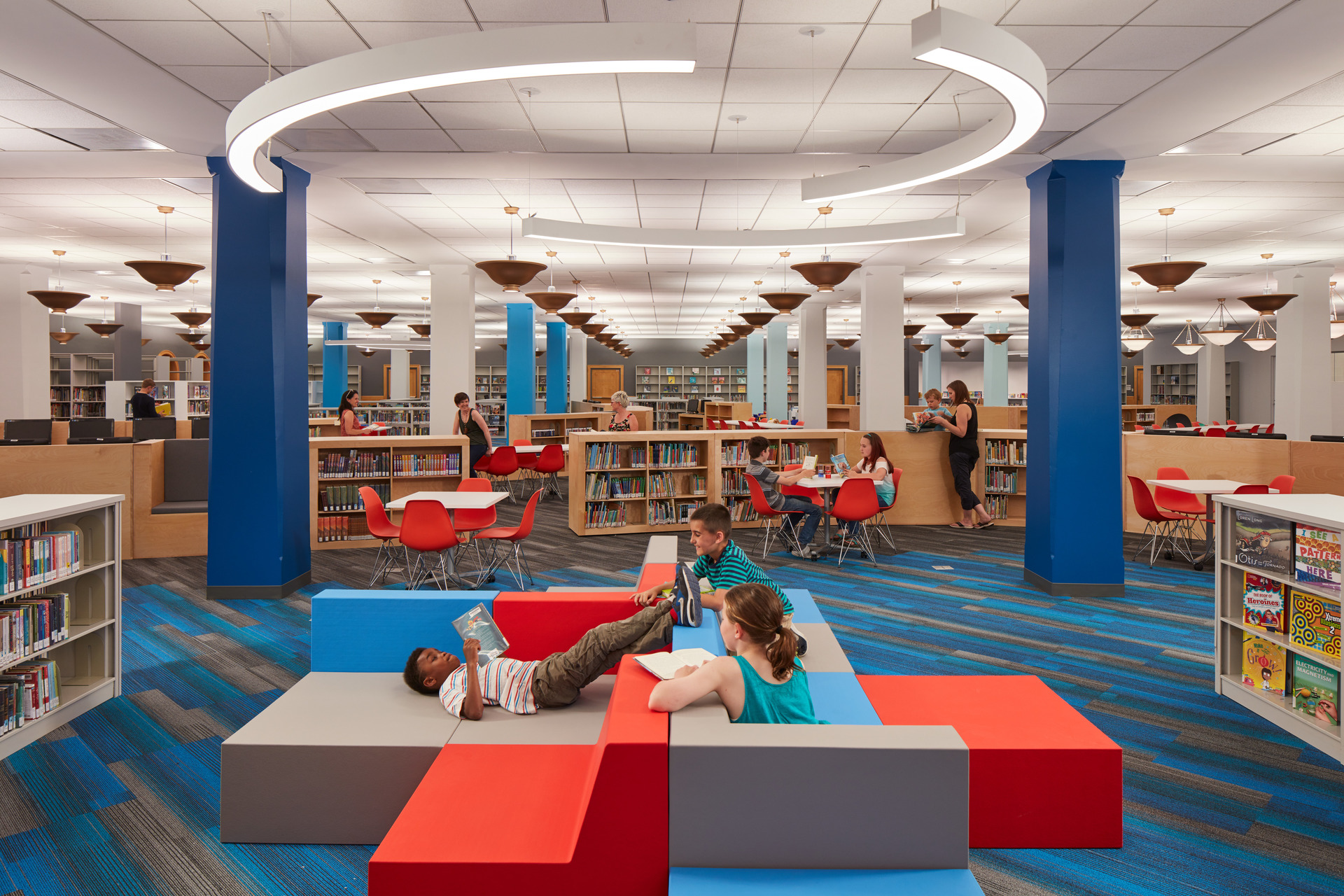 The bright colors SIXINCH offers brings a vibrant vibe into the educational space. This installation is the Thomas Hugh's Children's Library at the Harold Washington Library Center in Chicago designed by Gensler.
