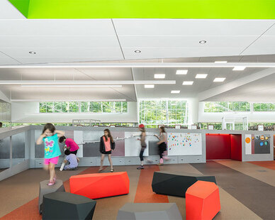 SIXINCH rock elements make the perfect bench (or stage) for kids. This installation is located at the Louisville South Central Public Library by JSR Architects and design by MSR Design.