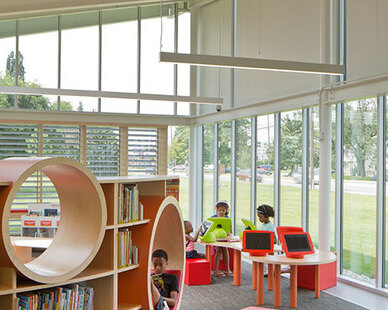 SIXINCH FlexPlus pieces are great for libraries and educational environments due to the durability for high traffic. Pictured is the Columbus Metropolitan Library in Whitehall, Ohio designed by Jonathan Barnes Architecture & Design.