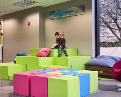 The Manhattan Public Library in Kansas created a vibrant, educational environment with SIXINCH soft foam furniture. Photo and architecture by BBN Architects.