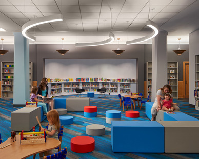 SIXINCH furniture brings fun uplifting elements to any space. Including this installation at the Thomas Hugh's Children's Library part of the Harold Washington Library Center in Chicago designed by Gensler.