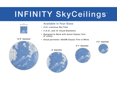 INFINITY SkyCeilings are available in 4 sizes.