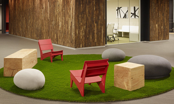 Who said that you can't have outdoor lounge seating in the office? Not Skype HQ, they chose the Vang Lounge Chair to add to there outdoor theme in the middle of their office.