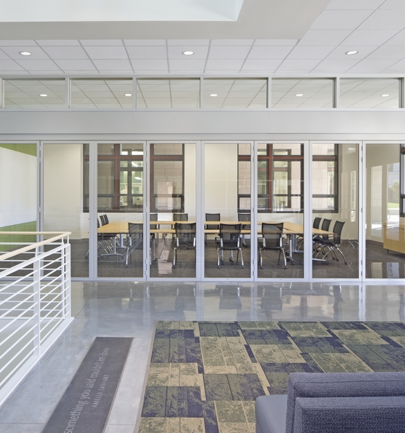 SL45 Folding Glass Walls NanaWall Education Interior Stanford Bioengineering Department Closed Moveable Glass Wall Partitions