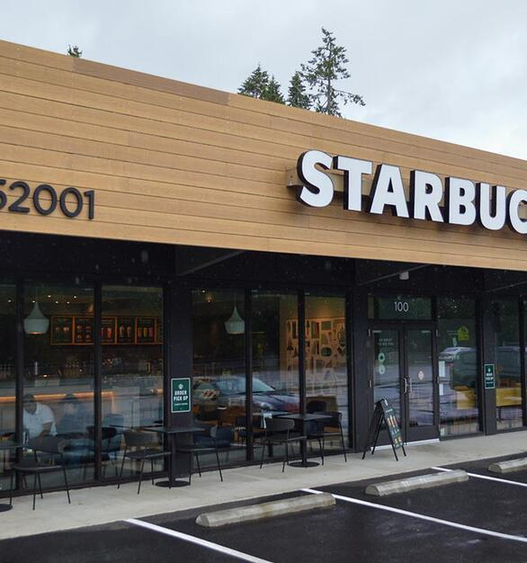 Solid Wood Accoya Siding in Sand was used on this Starbucks Storefront.