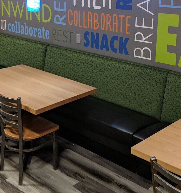 Relax in comfort in these metal chairs and solid wood tables.    Perfect for cafeterias, work break rooms, cafes and other locations.  Selecting the right table top for your break room, restaurant is not only crucial for your restaurant or break room design,  but also has a big impact on function and flow. Whether it be vinyl edge, wood edge, or other communal table options -- Plymold has plenty of options.