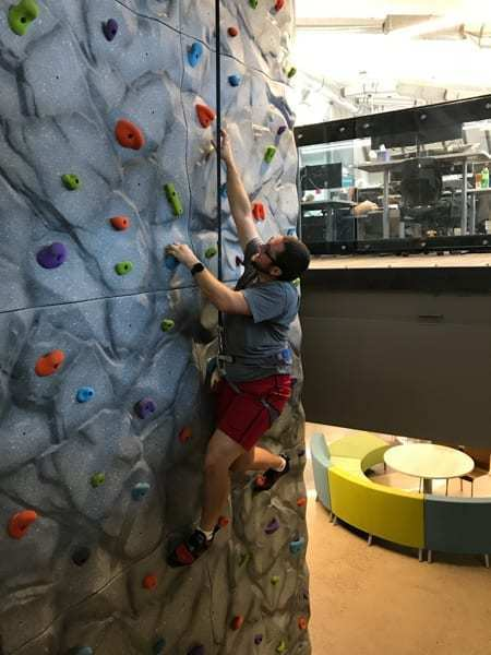The Chatham Financial corporate office in Littleton, Colorado features an amazing 20' tall by 8' wide SOLIDRock Panels climbing wall.