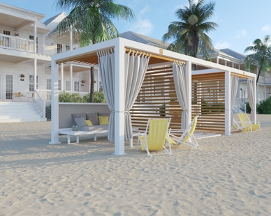 Our South Beach design pairs a white Cabana X frame teak woodgrain colored louvers and enhancements like slat wall panels and curtain rods.