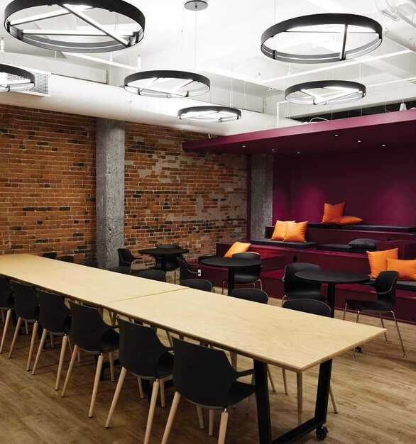 Jalon MTL is located in Montreal, QC, Canada featuring lighting products by Acuity Brands Eurek. Project in collaboration with IDEA Design and Acuity Brands agent Acuity Brands EDP.  Photographer: Phil Bernard